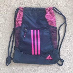 NWOT Adidas Pink and Navy Drawstring Bag